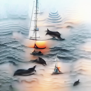 sailing on a sunrise sea with dolphins
