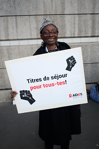 Paris, France, AIDES Demonstration, Migrant Rights, SIgns