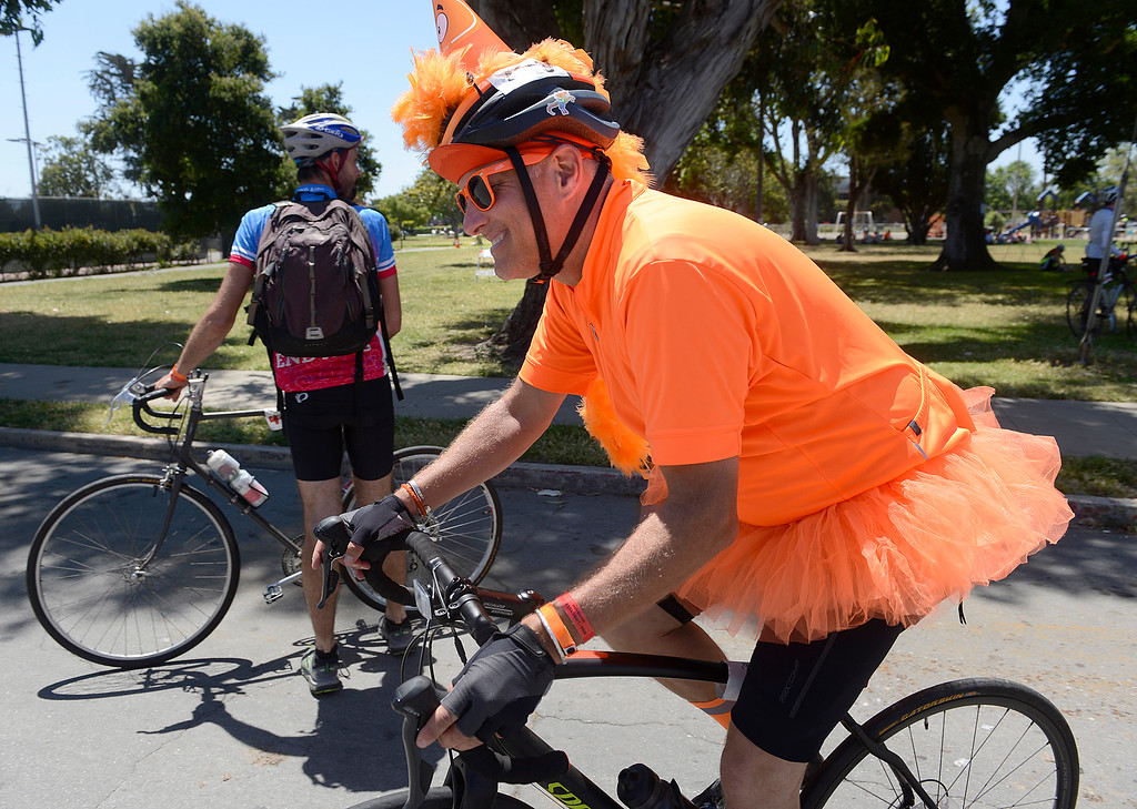 . AIDS/ LifeCycle bicycle rider Rob Costello of San Francisco heads out from the lunch stop in Central Park in Salinas on Monday June 5, 2017. The second leg of the 7-day ride from San Francisco to Los Angeles to raise money for AIDS takes the 2,200 riders on a 109 mile journey from Santa Cruz to King City.  (David Royal - Monterey Herald)