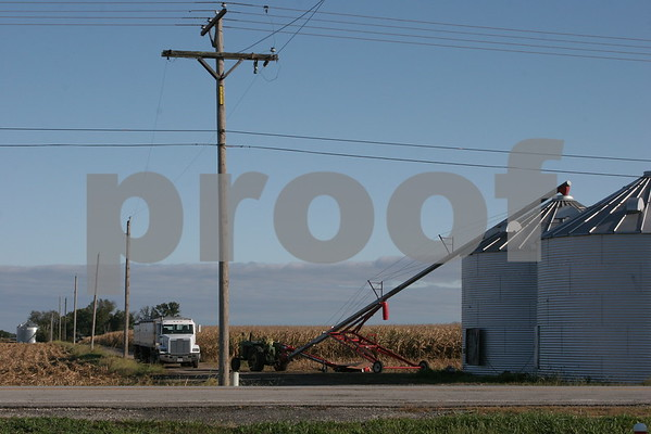 Grain auger near power lines
