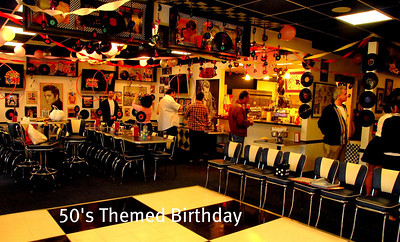 50's Theme Decor for Carol Edenbaum's 60th Bday Bash. What a HUGE makeover! This place is a Sports Bar in Del Mar. My staff & I worked around the clock & transformed this restaurant into a 50's Diner in less than 24 Hours. Such a fun job!!!