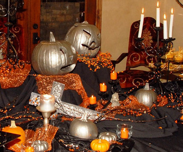 Formal Dining Table Decor at The Rothchild Halloween Gala. Another great event and for a great cause!