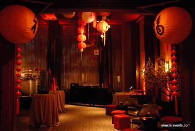 Asian Themed Decor for A Night in Tokyo NYE 2010 Celebration at the 5 Star Se San Diego Hotel.