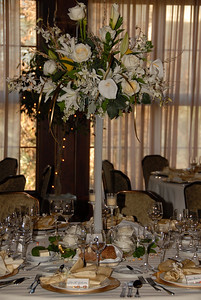 The Table Decor for the Formal Celebration for Ron Thauer's 50th held in the Lodge Ballroom at The Lodge at Torrey Pines. Thanks to Potts by Patt for the beautiful centerpieces.