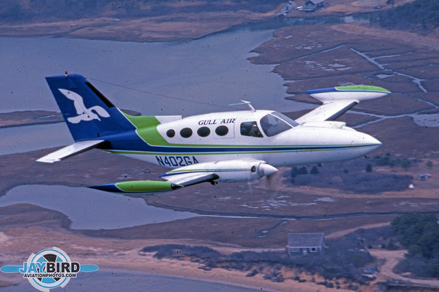 Gull Air operated a fleet of handsome Cessna 402s. Typically, the bulk of its fleet spent the summers in New England and winters in Florida. I captured this Cessna over Hyannis