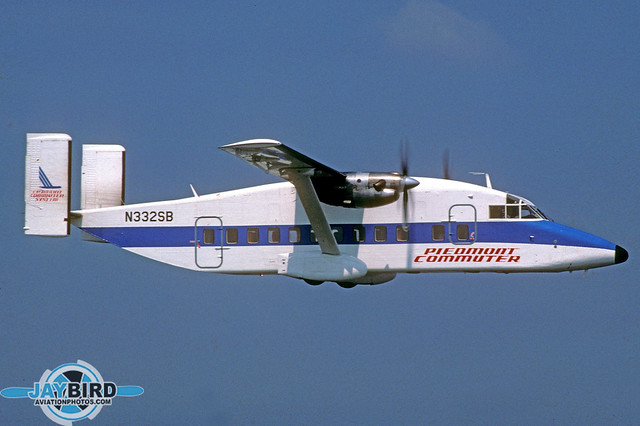 CCAIR WAS ONE OF THE FIRST MEMBERS OF THE PIEDMONT COMMUTER SYSTEM. I PHOTOGRAPHED N332SB OVER CHARLOTTE IN SEPTEMBER 1985. THERE WAS SOMETHING ABOUT THE PIEDMONT COLOR SCHEME THAT MADE EVEN THE SHORTS 330 LOOK PRETTY GOOD!