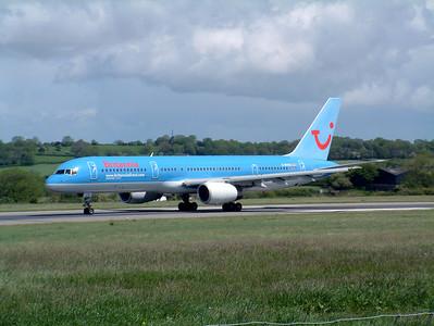 Britannia B757 G-BYAO runway 27, Lulsgate 25th May 2002.