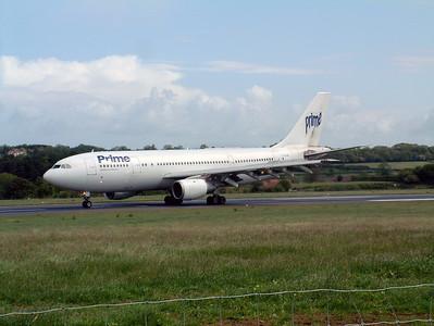 Prime A300 G-HLAD landing runway 27 at Lulsgate, 25th May 2002.