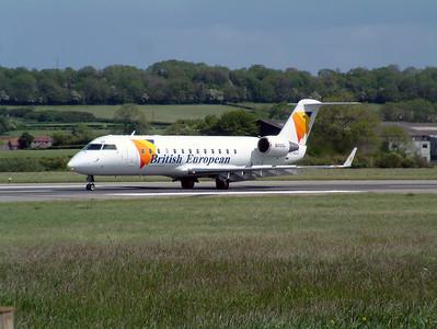 British European CRJ G-JECC runway 27, Lulsgate 25th May 2002.