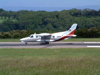 MU-2J N80JN runway 27 Lulsgate, 25th May 2002.