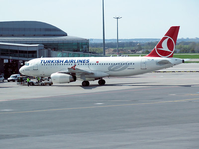 Turkish Airlines A320 TC-JAI is pushed back from the stand at Prague Airport. Friday 22nd April 2016.