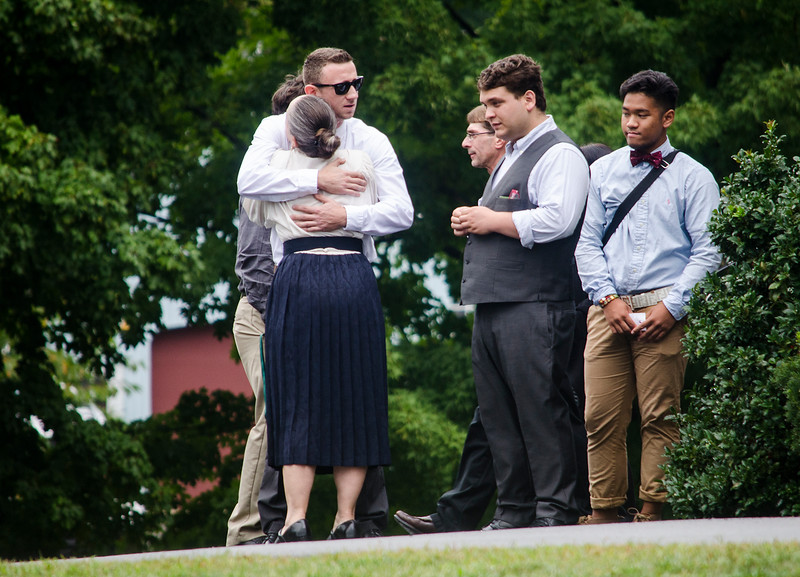 Mourners gather outside the Sawyer-Miller-Masciarelli Funeral Home on Thursday afternoon for the wake of A.J. Robbins, the 2016 Lunenburg High graduate killed in drunk driving accident over the weekend. The funeral home expected over 1,500 to attend the service. SENTINEL & ENTERPRISE / Ashley Green