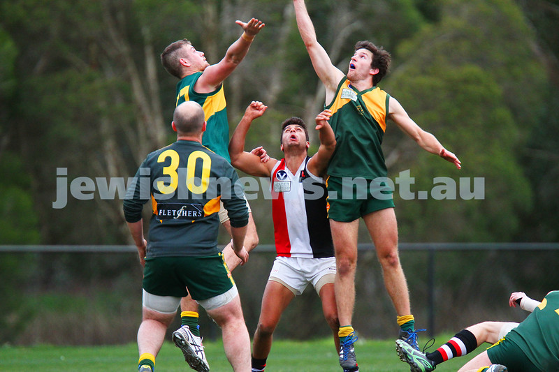 2-8-15. AJAX Black won a thriller against Old Trinity at Daley Oval.  With scores level late in the last quarter, a goal with seconds left on the clock secured Ajax the win 11.5 - 71 to Trinity 9.11 - 65 and a place in the finals.  Photo: Peter Haskin