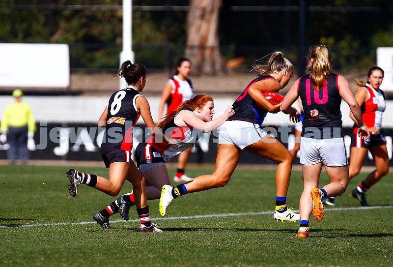 13-8-17. VAFA Women Preliminary Final. AJAX Jackettes were deferated by Old Mentonians 5-6-36 to 5-8-38. Chelsea Fisher tackling. Photo: Peter Haskin