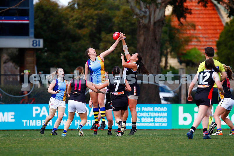 13-8-17. VAFA Women Preliminary Final. AJAX Jackettes were deferated by Old Mentonians 5-6-36 to 5-8-38. Maddy Smart. Photo: Peter Haskin