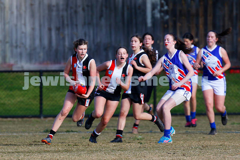 2-9-18. In their first year in the competition, the AJAX U 14 girls take out the premiership against East Malvern. Photo: Peter Haskin