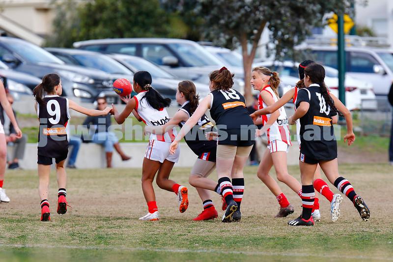21-7-19. AJAX U 14 Girls v Mordialloc Braeside at Princes Park, Caulfield. Photo: Peter Haskin