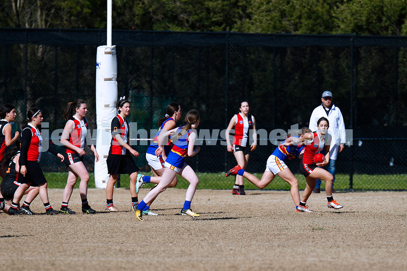 25-8-19. AJAX U 16 girls versus St Paul's Mckinnon in the elimination final at Highett Reserve. Photo: Peter Haskin