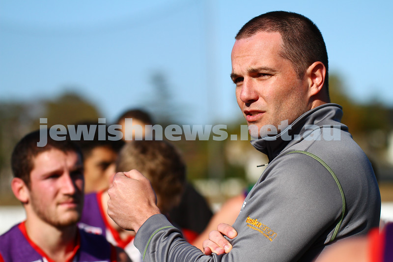 3-4-15. AJAX intra club practice match at Moorabin Oval, Linton St. New head coach Marty Pask addresses the players during a break. Photo: Peter Haskin