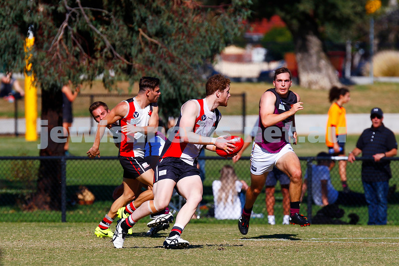 7-4-18. Round 1 at Princes Park.  AJAX def Old Haileyburians 20.7-127 to 10.8-68. Jake Lew. Photo: Peter Haskin