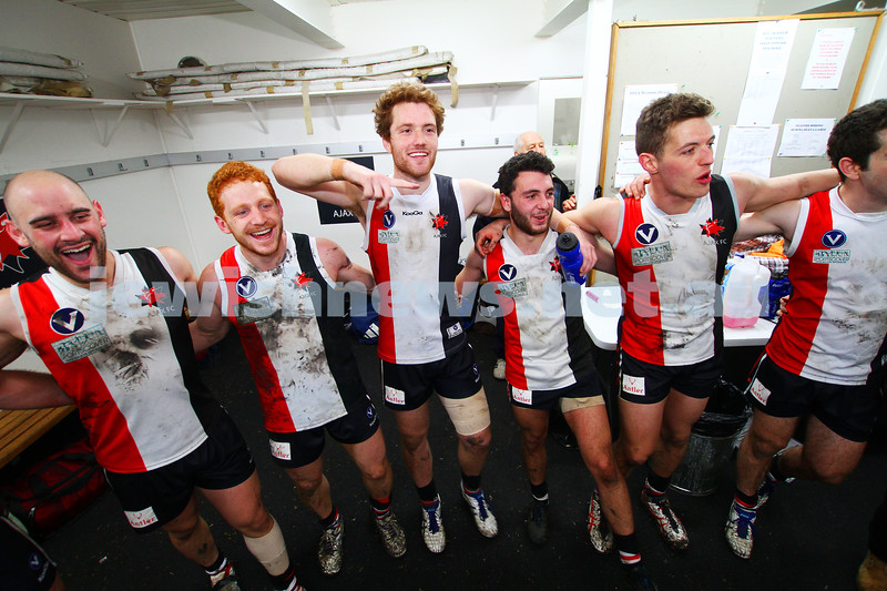 2-8-14. AJAX defeated Old Ivanhoe by 27 points at Gary Smorgon Oval. Singing the club song. Photo: Peter Haskin
