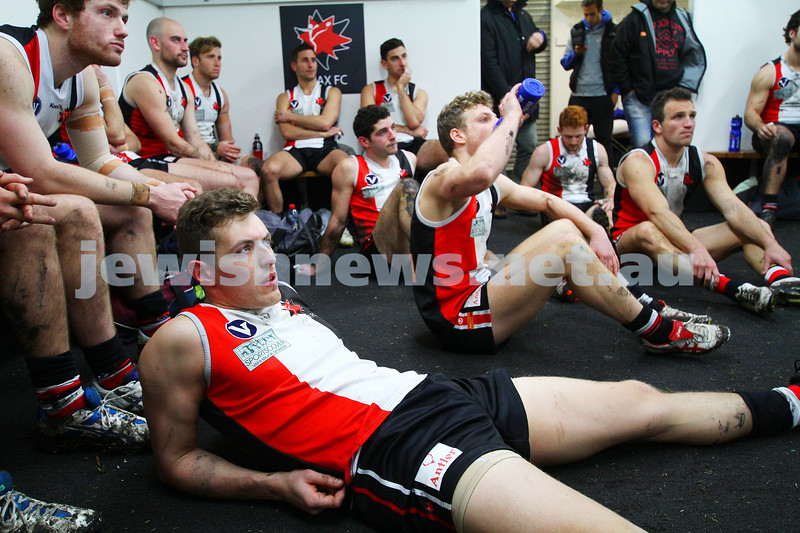 2-8-14. AJAX defeated Old Ivanhoe by 27 points at Gary Smorgon Oval. Half time in the rooms. Photo: Peter Haskin