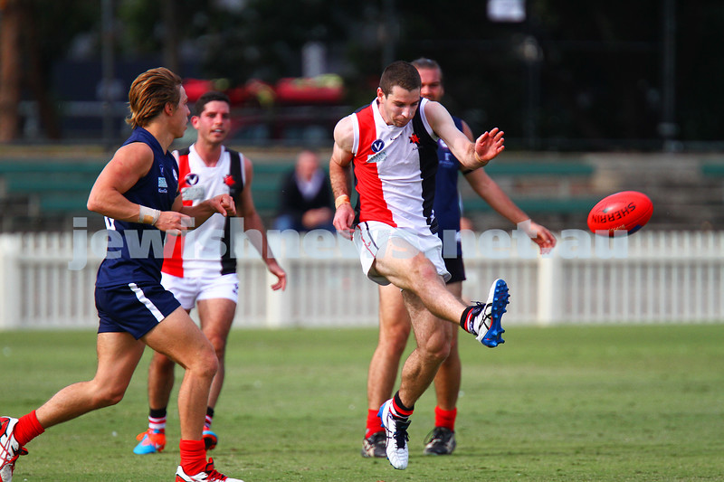 11-4-15.  An undermanned AJAX went down to Old Melbournians by 43 points in the opening round of the VAFA season at the Junction Oval. Photo: Peter Haskin