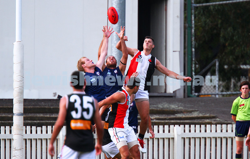 11-4-15.  An undermanned AJAX went down to Old Melbournians by 43 points in the opening round of the VAFA season at the Junction Oval. Dov Paltiel. Photo: Peter Haskin
