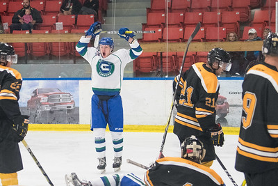 Dylan Williamson celebrates his goal during the home opener of the AJHL 2017 Regular Season between the Calgary Canucks and the Olds Grizzlies 9 17 at the Max Bell Centre.
