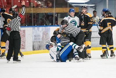 Tensions rise during the home opener of the AJHL 2017 Regular Season between the Calgary Canucks and the Olds Grizzlies 9 17 at the Max Bell Centre.
