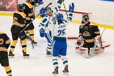 Canucks celebrate a goal during the home opener of the AJHL 2017 Regular Season between the Calgary Canucks and the Olds Grizzlies 9 17 at the Max Bell Centre.