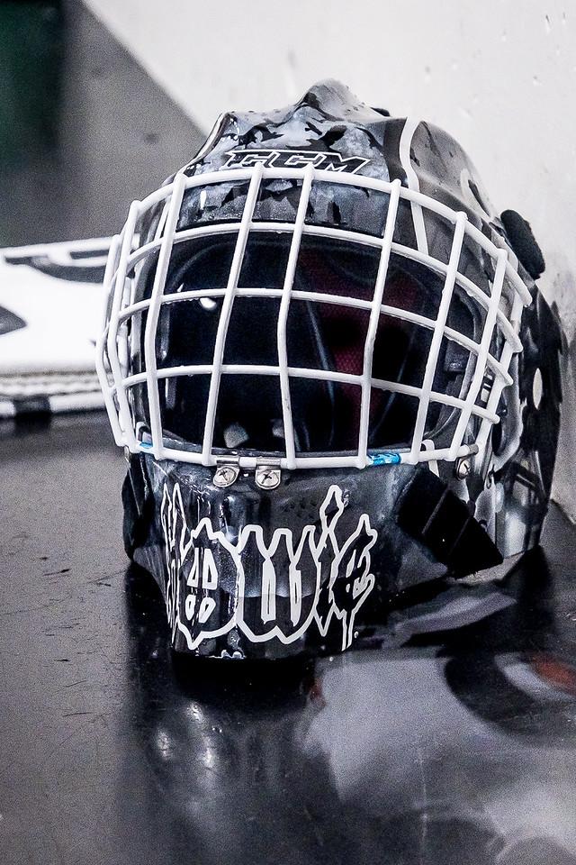 Mask of Okotoks goalie Ben Howard