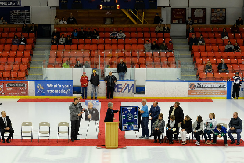 Ken Bracko arena dedication ceremony during the home opener of the AJHL 2017 Regular Season between the Calgary Canucks and the Olds Grizzlies 9 17 at the Max Bell Centre.
