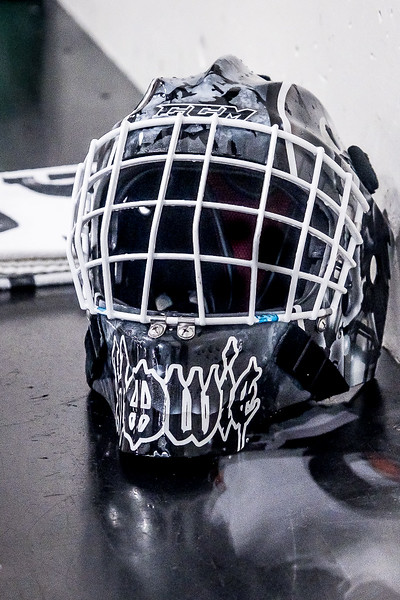 Mask of Okotoks goalie Ben Howard