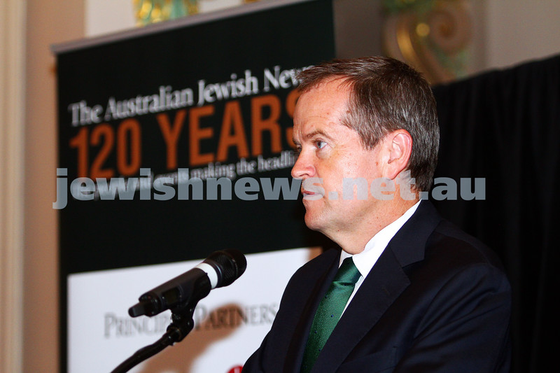 17-2-15. Australian Jewish News. 120 Years book launch at the State Library of Victoria. Bill Shorten. Photo: Peter Haskin