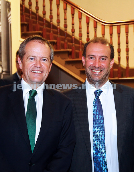17-2-15. Australian Jewish News. 120 Years book launch at the State Library of Victoria. Bill Shorten, Zeddy Lawrence. .Photo: Peter Haskin