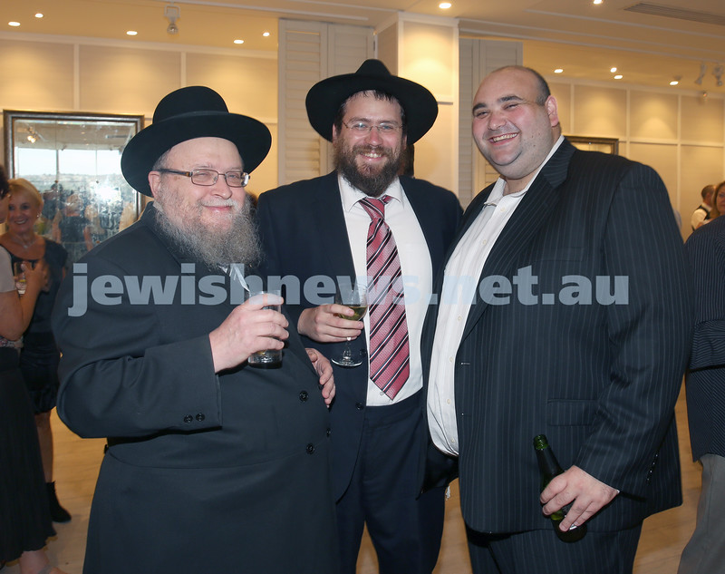 AJN 120th. Rabbi Pinchus Feldman, Rabbi Eli Feldman, Josh Levi.