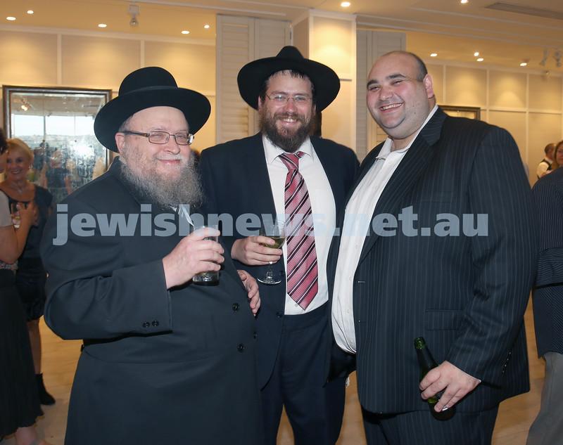 AJN 120th. Rabbi Pinchus Feldman, Rabbi Eli Feldman, Josh Levi.