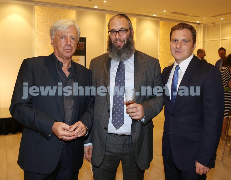 AJN 120th. Robert Magid, Rabbi Mendel Kastel, Jeremy Spinak.