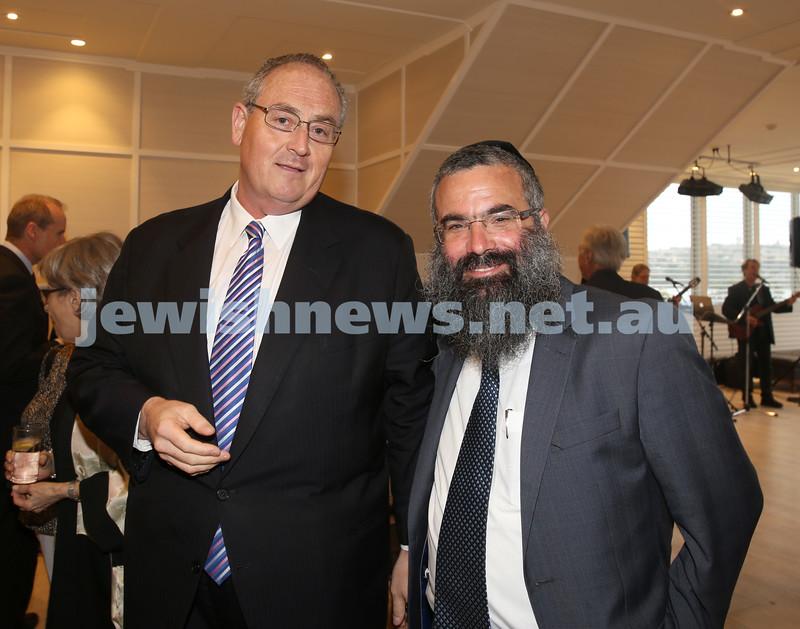 AJN 120th. Walt Secord and Rabbi Dovid Slavin.