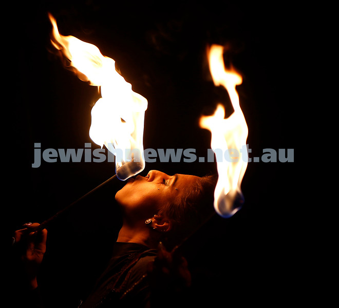 Lag B'omer, the 33rd day of the counting of the Omer, and the skies were ablaze at Glen Eira Chabad with bonfires and fire eaters. Photo: Peter Haskin