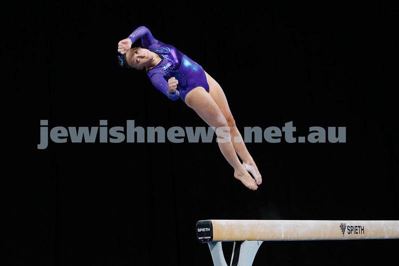 23-5-19. Australian Gymnastics  Championships, Melbourne. Women's Artistic. Jaymi Aronowitz from NSW. Beam. Photo: Peter Haskin