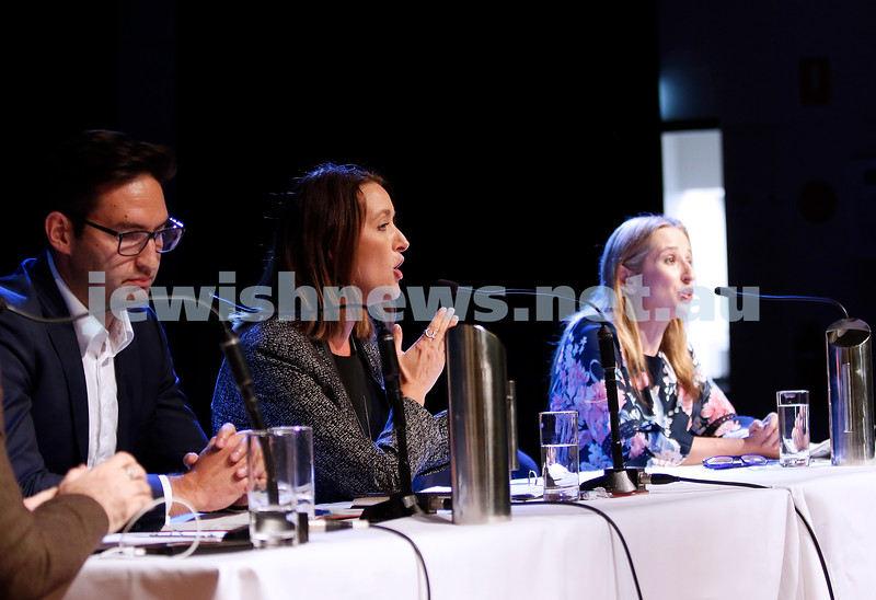 7-4-19. Macnamara electorate debate at Glen Eira Town Hall. From left: Josh Burns (ALP), Steph Hodgins-May (Greens), Kate Ashmor (Lib). Photo: Peter Haskin