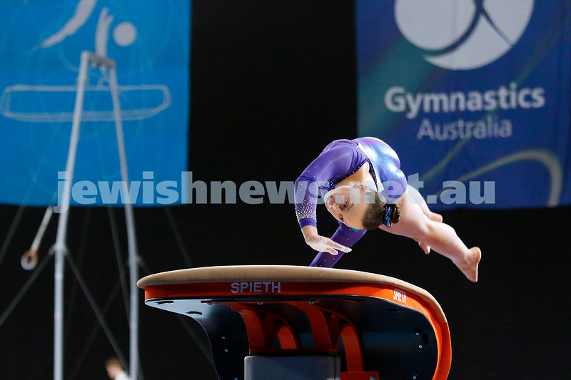 23-5-19. Australian Gymnastics  Championships, Melbourne. Women's Artistic. Jaymi Aronowitz from NSW. Vault. Photo: Peter Haskin