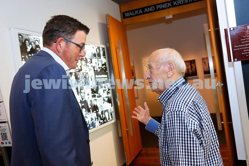 27-2-19. Victorian Premier Daniel Andrews meeting with Holocaust survivor Szaja Chaskiel at the Jewish Holocaust Centre. Photo: Peter Haskin