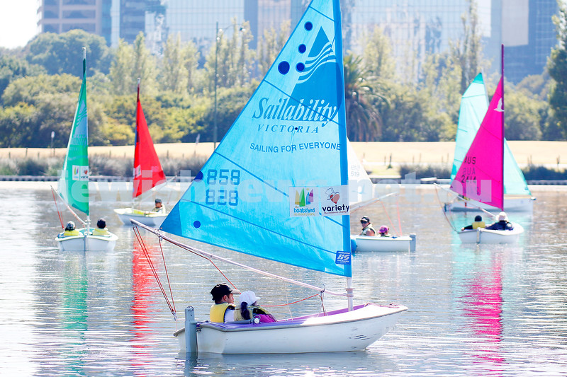 3-2-19. Maccabi All Abilities with Sailability at Albert park Lake. Photo: Peter Haskin