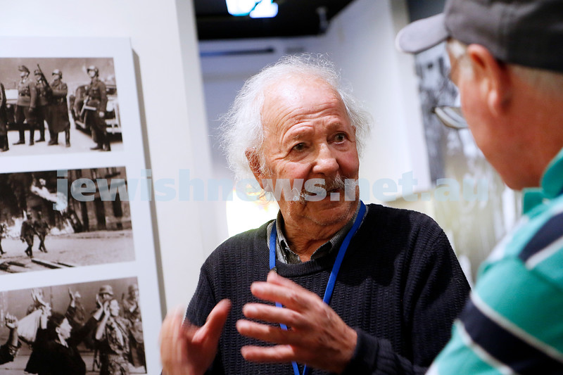 23-4-19. Holocaust survivor  and guide at the Jerwish Holocaust Centre, Henri Korn speking with visitors. Photo: Peter Haskin