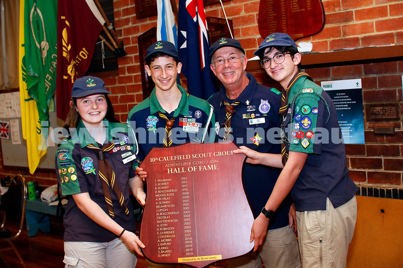 11-4-19. 10th Caulfield Scout Group. Three member of the group have been awarded the Australian Scout Medallion. From left: Dara Arndt, Sasha Bajayo, Aiden King, scout leader Gary Brand. Photo: Peter Haskin