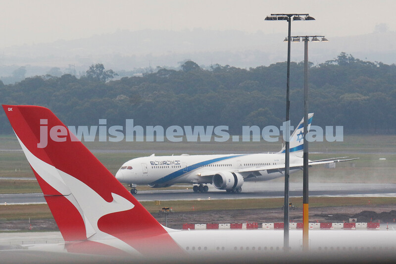 2-4-20. History was made at 5.52pm on Thursday April 2, 2020, with the first EL AL passenger flight, LY 85, to land in Melbourne touching down on a cold raining day, bringing stranded Australians back from Israel. The plane then took stranded Israelis back to Israel. Photo: Peter Haskin