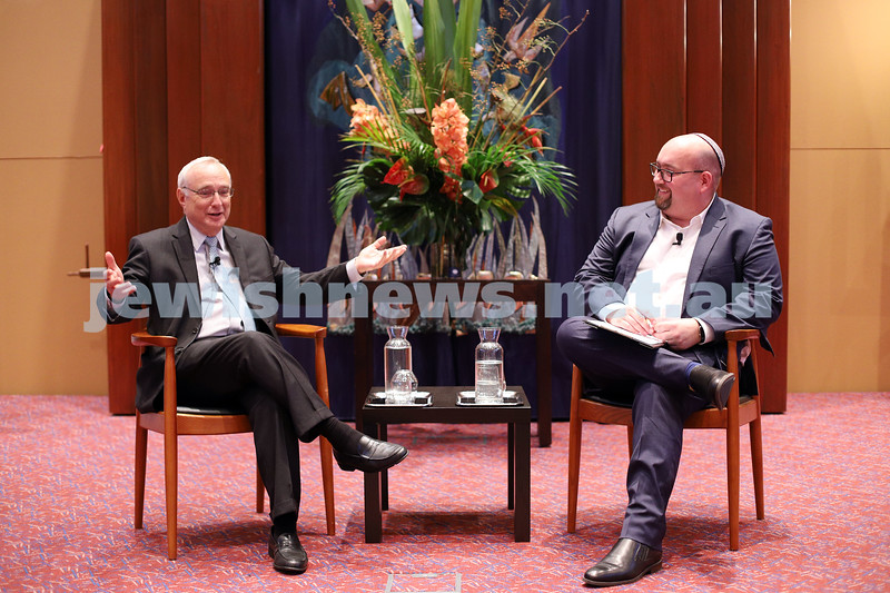 12-3-20. Rabbi David Saperstein (left), in conversation with Rabbi Gersh Lazarow at Temple Beth israel, Melbourne. Photo: Peter Haskin